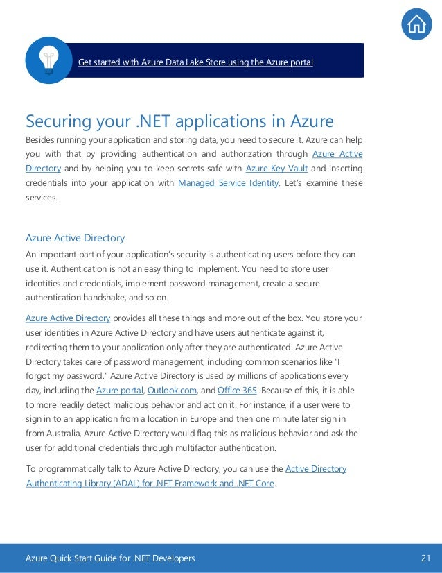 Azure Quick Start Guide for .NET Developers 21 Securing your .NET applications in Azure Besides running your application a...