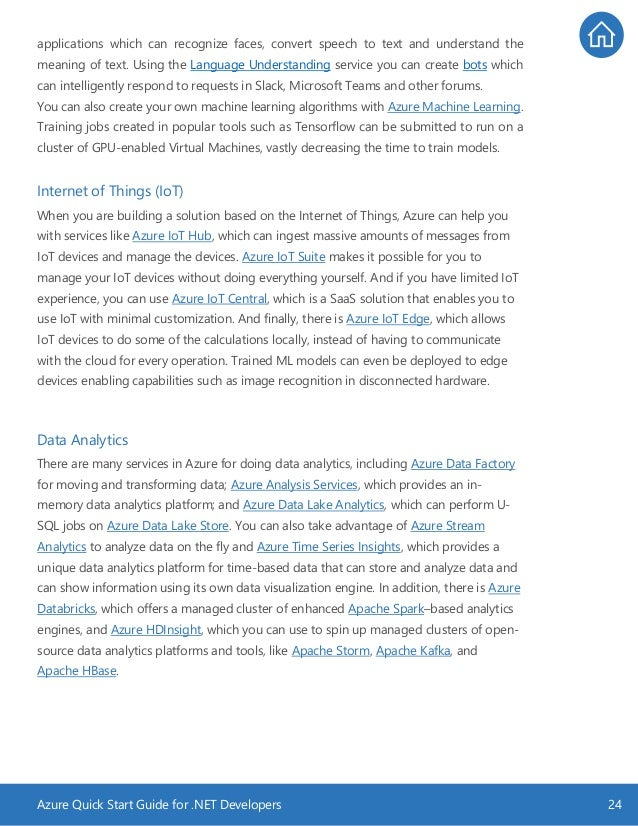 Azure Quick Start Guide for .NET Developers 24 applications which can recognize faces, convert speech to text and understa...