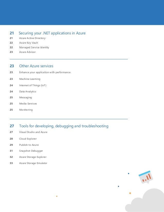 3 21 Securing your .NET applications in Azure 21 Azure Active Directory 22 Azure Key Vault 22 Managed Service Identity 23 ...