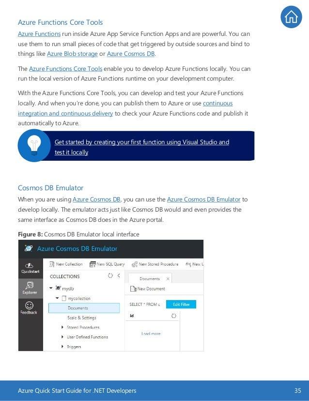 Azure Quick Start Guide for .NET Developers 35 Azure Functions Core Tools Azure Functions run inside Azure App Service Fun...