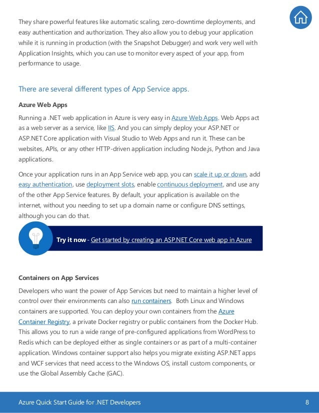 Azure Quick Start Guide for .NET Developers 8 They share powerful features like automatic scaling, zero-downtime deploymen...
