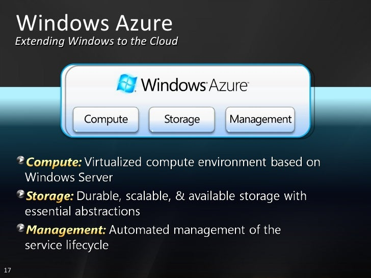 Windows Azure Extending Windows to the Cloud