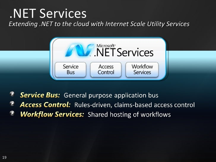 .NET Services Extending .NET to the cloud with Internet Scale Utility Services