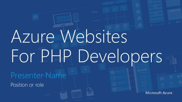 Azure Websites For PHP Developers Presenter Name Position or role Microsoft Azure
