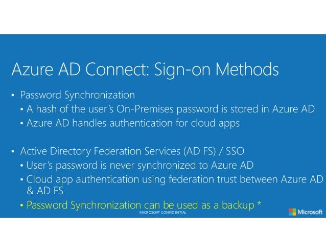 Azure 101 microsoft confidential azure ad connect sync sign on m4hsunfo