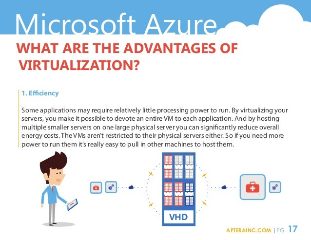 Microsoft Azure WHAT ARE THE ADVANTAGES OF VIRTUALIZATION? 1. Efficiency Some applications may require relatively little p...