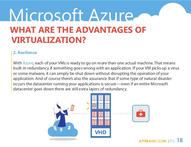 Microsoft Azure WHAT ARE THE ADVANTAGES OF VIRTUALIZATION? 2. Resilience With Azure, each of your VMs is ready to go on mo...