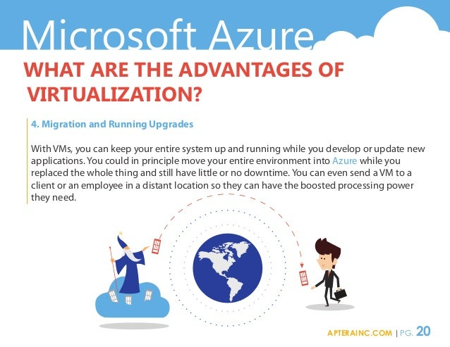 Microsoft Azure WHAT ARE THE ADVANTAGES OF VIRTUALIZATION? 4. Migration and Running Upgrades With VMs, you can keep your e...