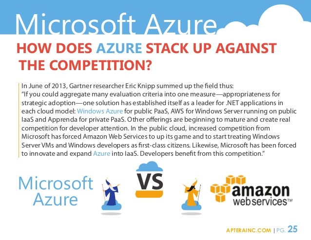 Microsoft Azure Microsoft Azure HOW DOES AZURE STACK UP AGAINST THE COMPETITION? In June of 2013, Gartner researcher Eric ...