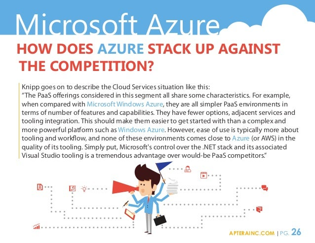 Microsoft Azure HOW DOES AZURE STACK UP AGAINST THE COMPETITION? Knipp goes on to describe the Cloud Services situation li...