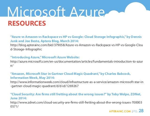 "Microsoft Azure RESOURCES ""Azure vs Amazon vs Rackspace vs HP vs Google: Cloud Storage Infographic,""by Dennis Junk and Joe..."