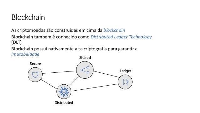 As criptomoedas são construídas em cima da blockchain Blockchain também é conhecido como Distributed Ledger Technology (DL...