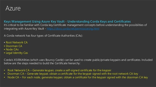 Azure Keys Management Using Azure Key Vault - Understanding Corda Keys and Certificates It's critical to be familiar with ...