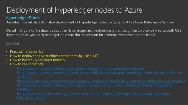 Deployment of Hyperledger nodes to Azure Hyperledger Fabric Describe in detail the automated deployment of Hyperledger to ...