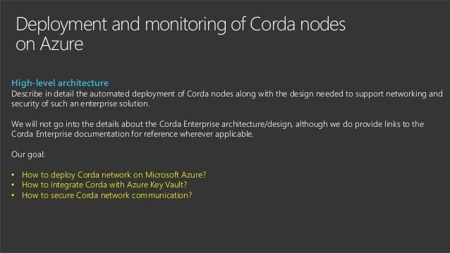 Deployment and monitoring of Corda nodes on Azure High-level architecture Describe in detail the automated deployment of C...