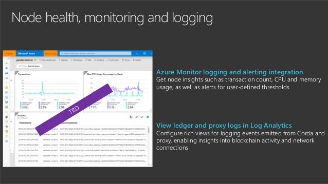 Node health, monitoring and logging Azure Monitor logging and alerting integration Get node insights such as transaction c...