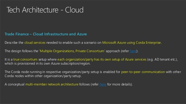 Tech Architecture - Cloud Trade Finance – Cloud Infrastructure and Azure Describe the cloud services needed to enable such...