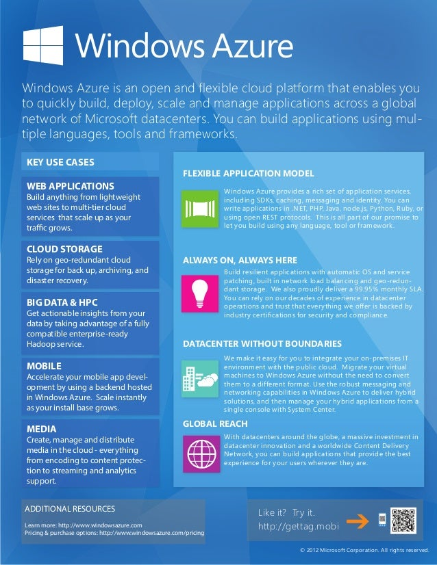 Windows Azure is an open and flexible cloud platform that enables youto quickly build, deploy, scale and manage applicatio...