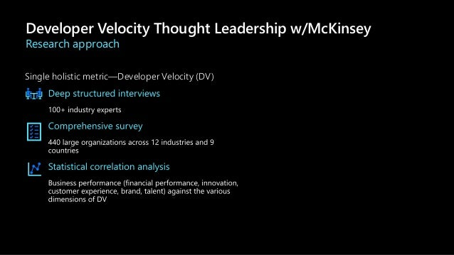 Single holistic metric—Developer Velocity (DV) Developer Velocity Thought Leadership w/McKinsey Research approach