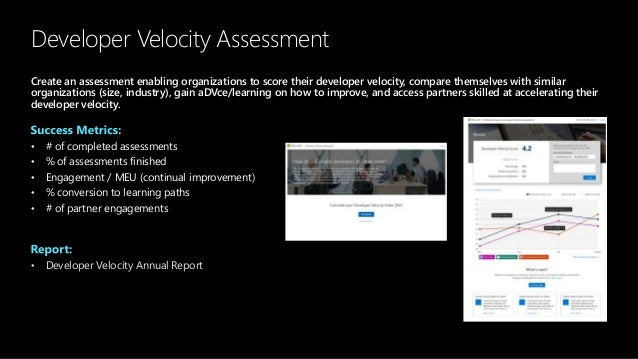 Developer Velocity Assessment Create an assessment enabling organizations to score their developer velocity, compare thems...