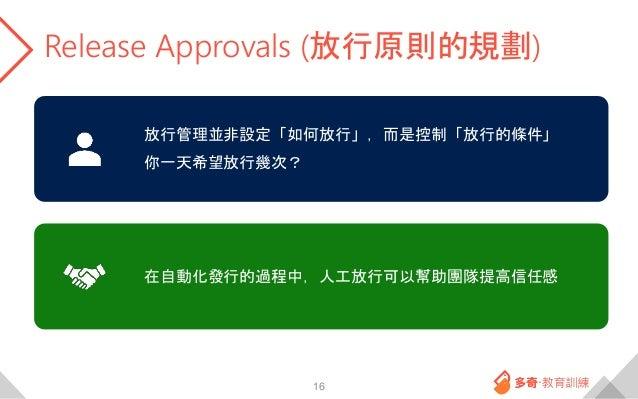 Release Approvals (放行原則的規劃) 16 放行管理並非設定「如何放行」,而是控制「放行的條件」 你一天希望放行幾次? 在自動化發行的過程中,人工放行可以幫助團隊提高信任感