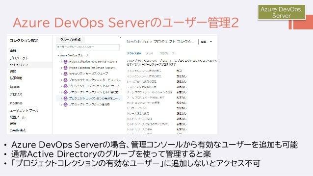 Azure DevOps Serverのユーザー管理2 Azure DevOps Server • Azure DevOps Serverの場合、管理コンソールから有効なユーザーを追加も可能 • 通常Active Directoryのグループを...