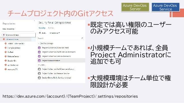 チームプロジェクト内のGitアクセス 既定では高い権限のユーザー のみアクセス可能 小規模チームであれば、全員 Project Administratorに 追加でも可 大規模環境はチーム単位で権 限設計が必要 Azure DevOps ...