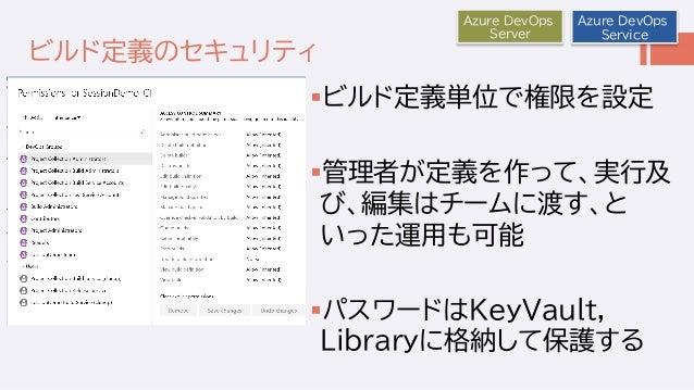 ビルド定義のセキュリティ ビルド定義単位で権限を設定 管理者が定義を作って、実行及 び、編集はチームに渡す、と いった運用も可能 パスワードはKeyVault, Libraryに格納して保護する Azure DevOps Server A...