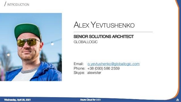 ".NET Online TechTalk ""Azure Cloud for DEV"" Slide 2"