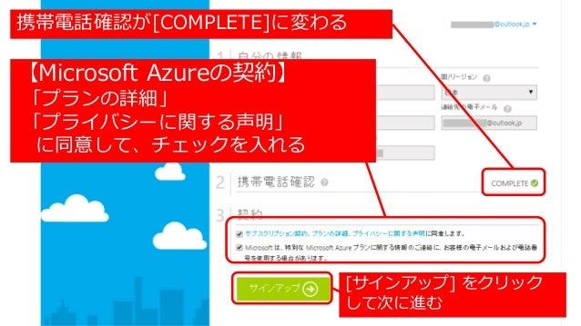 携帯電話確認が[COMPLETE]に変わる 【Microsoft Azureの契約】 「プランの詳細」 「プライバシーに関する声明」 に同意して、チェックを入れる [サインアップ] をクリック して次に進む
