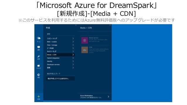 「Microsoft Azure for DreamSpark」 [新規作成]-[Media + CDN] ※このサービスを利用するためにはAzure無料評価版へのアップグレードが必要です
