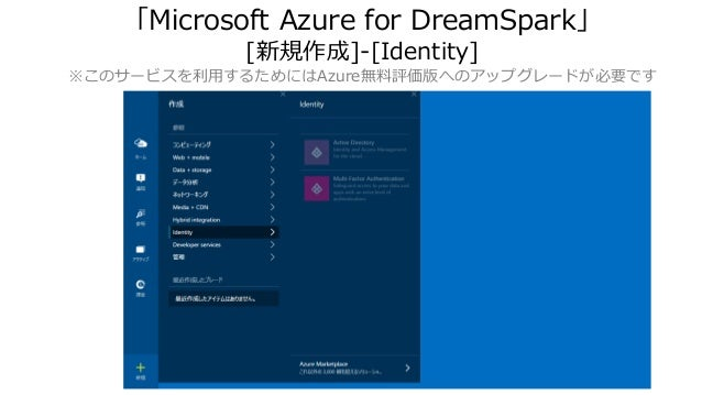 「Microsoft Azure for DreamSpark」 [新規作成]-[Identity] ※このサービスを利用するためにはAzure無料評価版へのアップグレードが必要です
