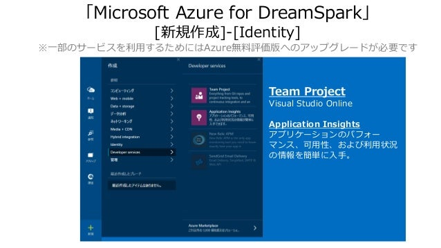 「Microsoft Azure for DreamSpark」 [新規作成]-[Identity] ※一部のサービスを利用するためにはAzure無料評価版へのアップグレードが必要です Team Project Visual Studio On...