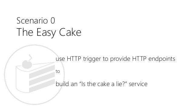 """Scenario 0 The Easy Cake use HTTP trigger to provide HTTP endpoints to build an """"Is the cake a lie?"""" service"""