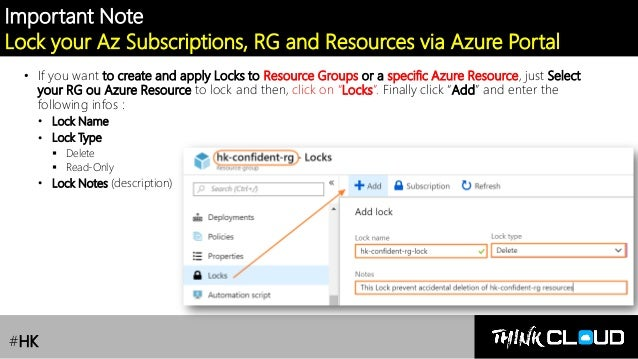 Contoso Ltd. Important Note Lock your Az Subscriptions, RG and Resources via Azure Portal • If you want to create and appl...