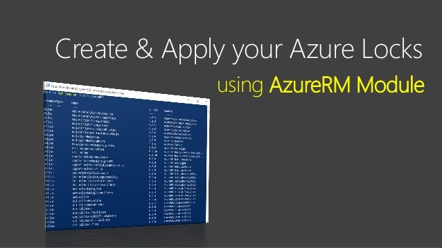 Contoso Ltd. Create & Apply your Azure Locks using AzureRM Module