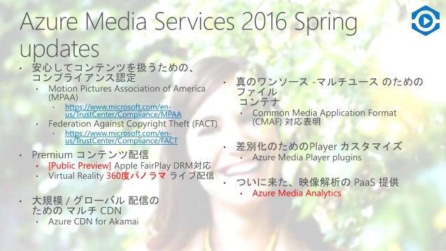 Azure Media Services の役割 • アップロード から CDN までのメディア配信の コア機能とインフ ラ を API 提供 • ビルドイン パートナーサービスも含めた、SLA と サポート 8 Ad Insertion Co...