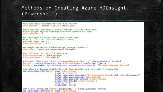 Demo • Create Hadoop Cluster (HDInsight) • Create Database andTable (Hive) • Data Load (Hive) • Querying (Hive) • Analyzin...
