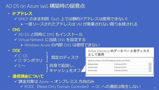 • IP アドレス  DHCP のまま利用(IaaS 上では静的IPアドレスは使用できない)  一度リースされたアドレスは VM が廃棄されない限り永続される • DNS  AD DS と同時に DNS もインストール  Virtual...