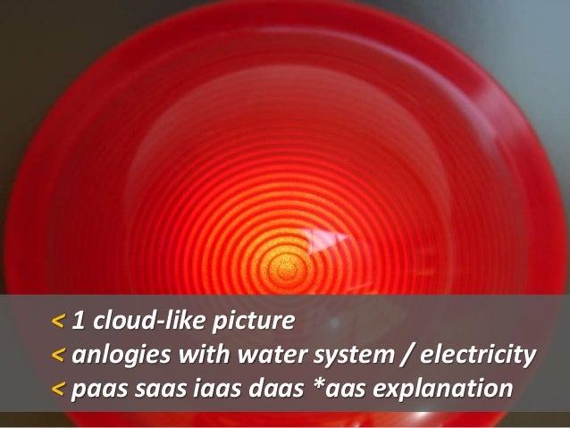 < 1 cloud-like picture < anlogies with water system / electricity < paas saas iaas daas *aas explanation