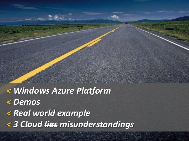 < Windows Azure Platform < Demos < Real world example < 3 Cloud lies misunderstandings