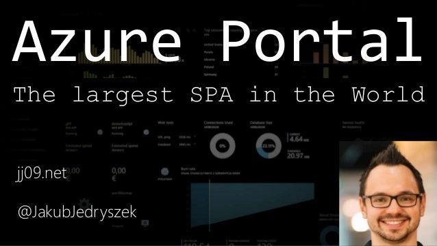 Azure Portal jj09.net @JakubJedryszek The largest SPA in the World