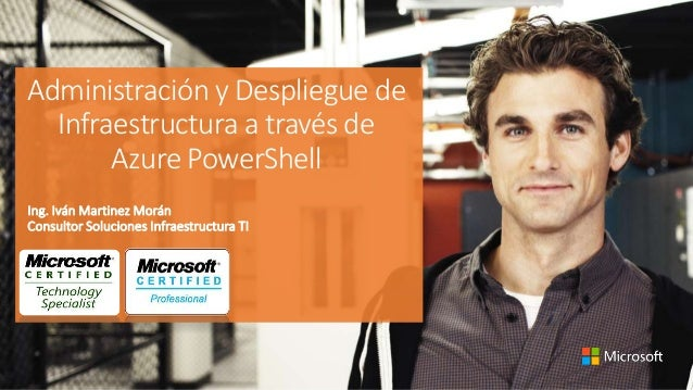 Administración y Despliegue de Infraestructura a través de Azure PowerShell Ing. Iván Martinez Morán Consultor Soluciones ...