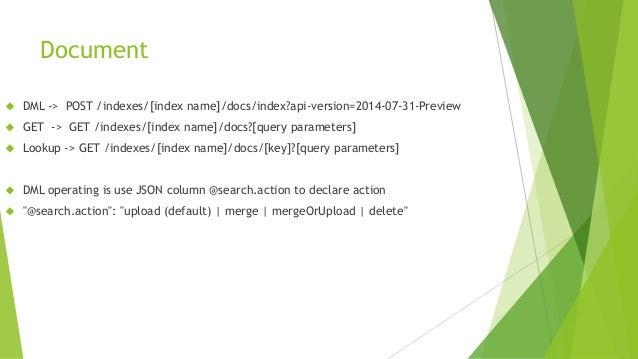 Document  DML -> POST /indexes/[index name]/docs/index?api-version=2014-07-31-Preview  GET -> GET /indexes/[index name]/...