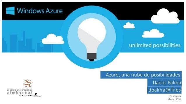 Barcelona Marzo 2018 Azure, una nube de posibilidades Daniel Palma dpalma@ifr.es
