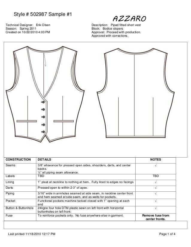 Style # 502987 Sample #1 AZZARO Technical Designer: Erik Olsen Description: Piped fitted short vest Season: Spring 2011 Bl...