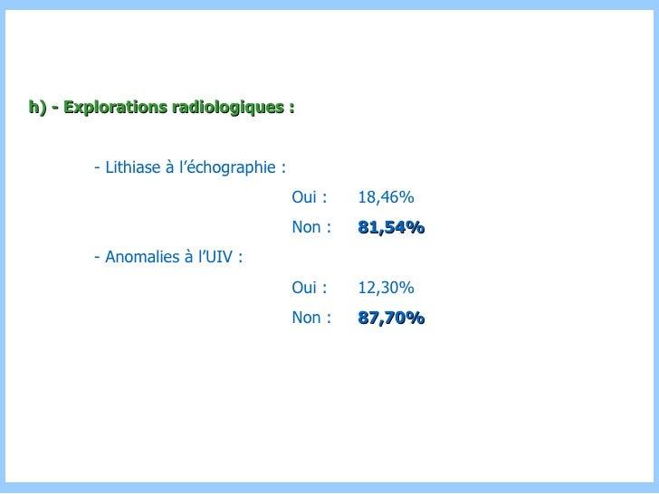 h) - Explorations radiologiques : - Lithiase à l'échographie : Oui :  18,46% Non :  81,54% - Anomalies à l'UIV : Oui :  12...