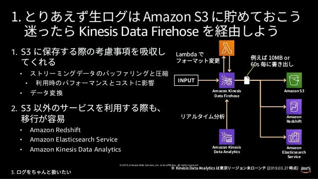 © 2019, Amazon Web Services, Inc. or its affiliates. All rights reserved. 1. S3 • • • 2. S3 • Amazon Redshift • Amazon Ela...