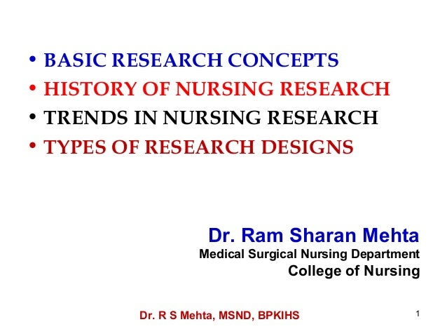 • BASIC RESEARCH CONCEPTS• HISTORY OF NURSING RESEARCH• TRENDS IN NURSING RESEARCH• TYPES OF RESEARCH DESIGNS             ...