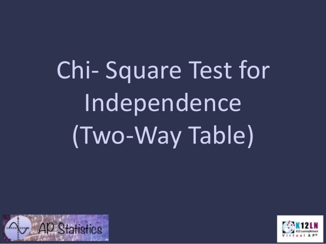 Chi- Square Test for Independence (Two-Way Table)